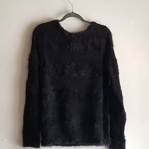 Ann Taylor LOFT Striped Fuzzy Sweater size large